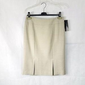 NWT Black Label Khaki Pleated Split Skirt 8